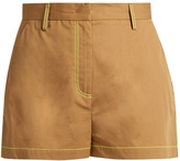 MSGM Contrast-stitch cotton-gabardine shorts