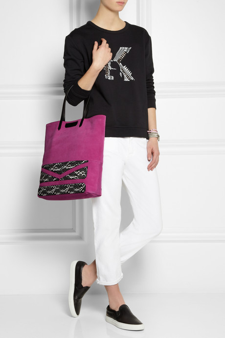 Karl Lagerfeld Suede and snake-effect leather tote