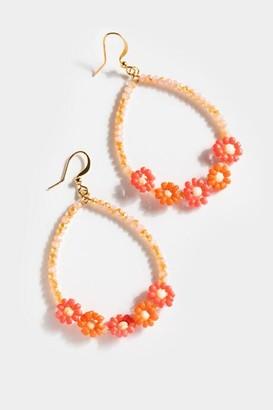 francesca's Jazmin Beaded Floral Teardrop Earrings - Pink