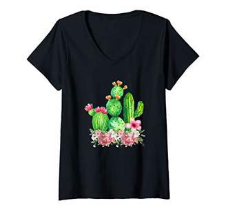 Womens Cute Blooming Cactus Flowers Cacti Succulents Lover V-Neck T-Shirt