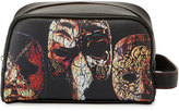 Robert Graham Faux-Leather Mask-Print Cosmetic Bag, Black Pattern