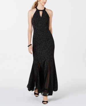 Night Way Nightway Glitter-Knit Teardrop Petite Gown