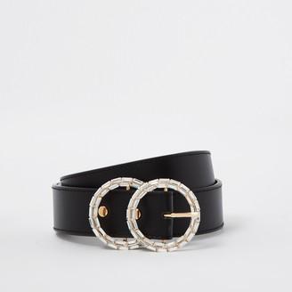 River Island Womens Black diamante double ring belt