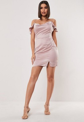 Missguided Petite Blush Cold Shoulder Satin Cowl Mini Dress
