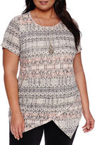 Alyx Short-Sleeve Asymmetrical Printed Knit Top - Plus
