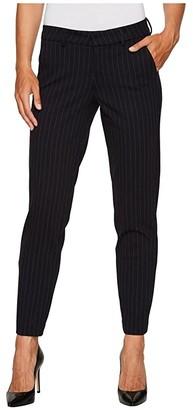Liverpool Kelsey Slim Leg Trousers in Windowpane Ponte Knit (Navy) Women's Casual Pants