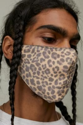 Urban Outfitters Reusable Cotton Leopard Print Face Mask - Brown ALL at