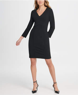 DKNY Long Sleeve Empire Waist Sheath Dress