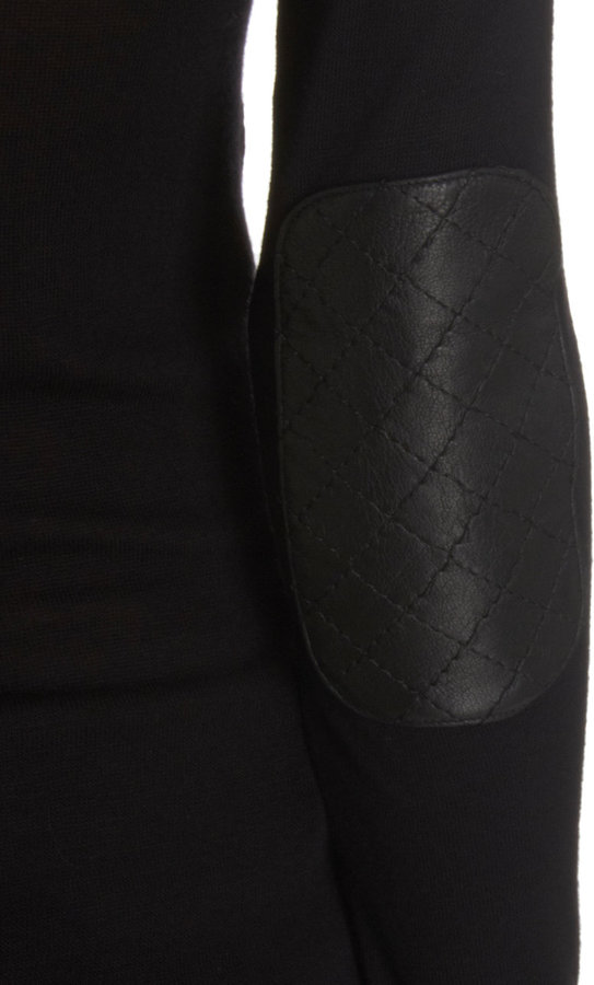 Barneys New York Leather Trim Long Sleeve Tee