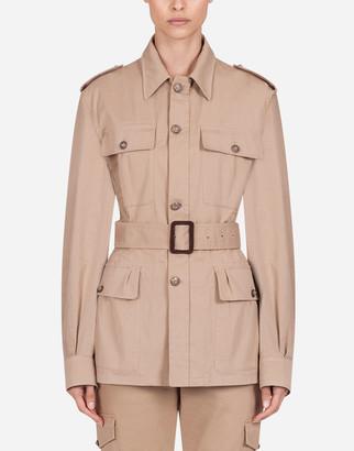 Dolce & Gabbana Single-Breasted Belted Gabardine Safari Jacket