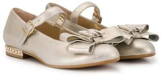 MonnaLisa TEEN embellished-bow ballerina shoes