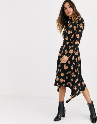 Miss Selfridge midi dress with high neck in floral print-Black