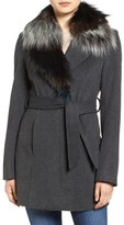 Sam Edelman Women's Wool Coat With Removable Faux Fur Collar