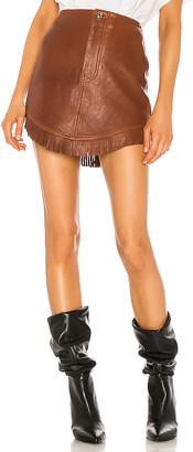 GRLFRND Sadie Leather Fringe Mini Skirt