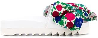 Joshua Sanders Floral Print Bow Slides