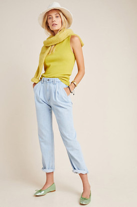 Paige Ultra High-Rise Pleated Trouser Jeans By in Blue Size 25