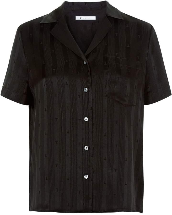 Alexander Wang Striped Logo Silk Shirt