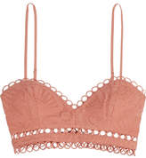 Zimmermann Japser Broderie Anglaise Cotton Bra Top - Antique rose