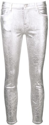 J Brand metallic skinny-fit trousers