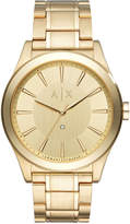 Armani Exchange A|X Men's Diamond Accent Gold-Tone Stainless Steel Bracelet Watch 44mm AX2327