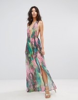 PrettyLittleThing Snake Print Plunge Front Maxi Dress