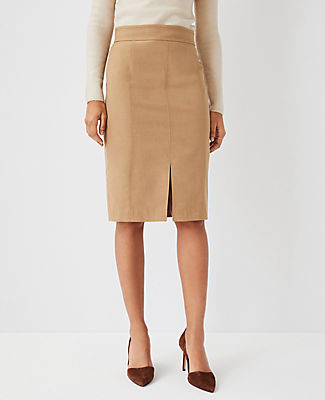 Ann Taylor The Petite Topstitched Front Slit Pencil Skirt