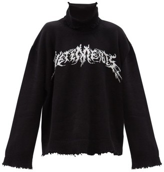 Vetements Logo-embroidered Wool-blend Sweater - Black