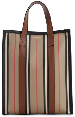 Burberry SM ICON STRIPE & CANVAS TOTE BAG