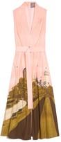Lela Rose Belted V-Neck Dress in Central Park
