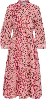 Carolina Herrera + Rose Cumming Belted Leopard-print Silk Crepe De Chine Shirt Dress