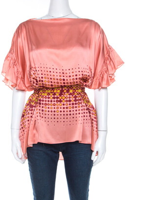 Gianfranco Ferre Peach Printed Silk Ruffle Sleeve Belted Blouse M