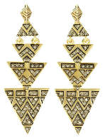 House Of Harlow Pave Tribal Triangle Earrings Gold