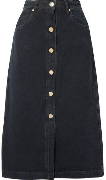 Gold Sign The Button Front Denim Midi Skirt - Black