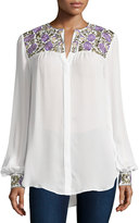 Haute Hippie Long Sleeve Button-Down Silk Blouse, Swan