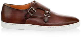 Santoni Freemont Monk Strap Leather Sneakers