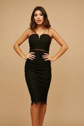 Girls On Film Midas Touch Black Lace Sweetheart Dress