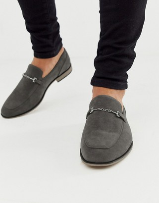 ASOS DESIGN loafers in grey faux suede with snaffle detail and black sole