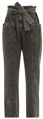 Sea Idun Paperbag-waist Acid-washed Cotton Jeans - Grey