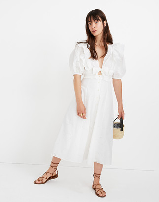 Madewell Sessun Eyelet Miranda Ruffled Midi Dress