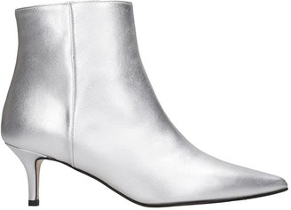 Marc Ellis Low Heels Ankle Boots In Silver Leather