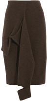Joseph Tie-front Wool Skirt - Dark brown