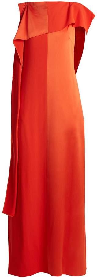 Diane von Furstenberg Contrast-panel draped sleeveless satin gown