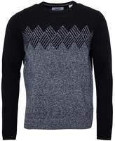 Original Penguin Mens Long Sleeve Geo Argyle Crew Neck Sweater True Black