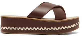 Ancient Greek Sandals Thais Leather Platform Sandals - Dark Brown
