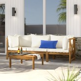 Beachcrest Home Sanibel 4 Piece Sectional Seating Group with Cushions Frame Color: Teak Brown, Cushion Color: Beige