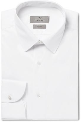 Canali White Slim-Fit Stretch Cotton-Blend Poplin Shirt - Men