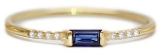 Ri Noor Sapphire Baguette & Pave Round Diamond Ring