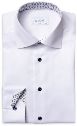 Eton Contemporary-Fit Contrast Trim Twill Dress Shirt