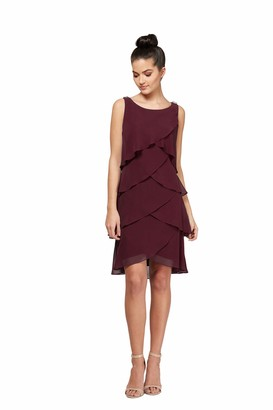 SL Fashions Women's Jewel-Strap Tiered Cocktail Dress (Petite and Regular)