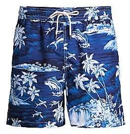 Polo Ralph Lauren Men's Tropical-Print Traveler Swim Trunks